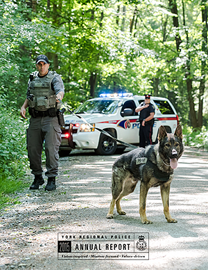 An officer walks with a large dog in the forest