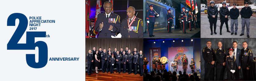 A photo collage of police officers at a gala dinner