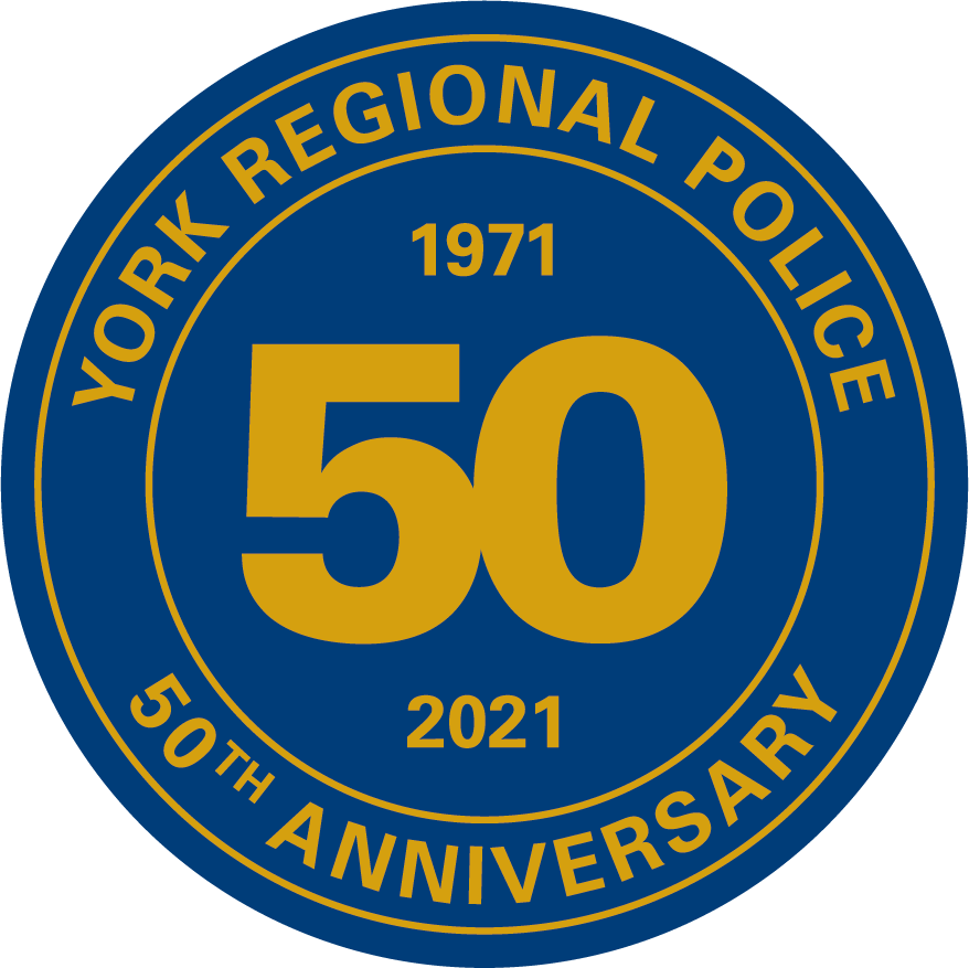 A seal reading York Regional Police 50 Years 1971-2021