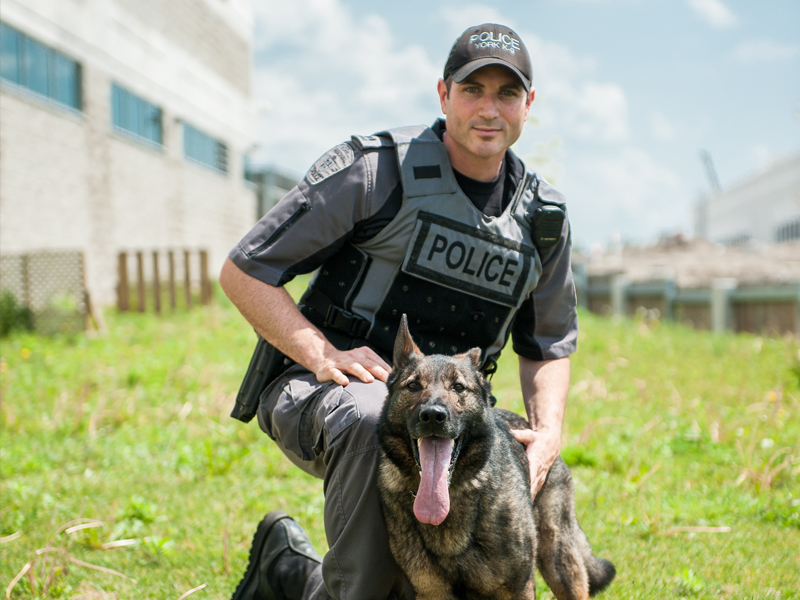 An officer kneels next to a large dog