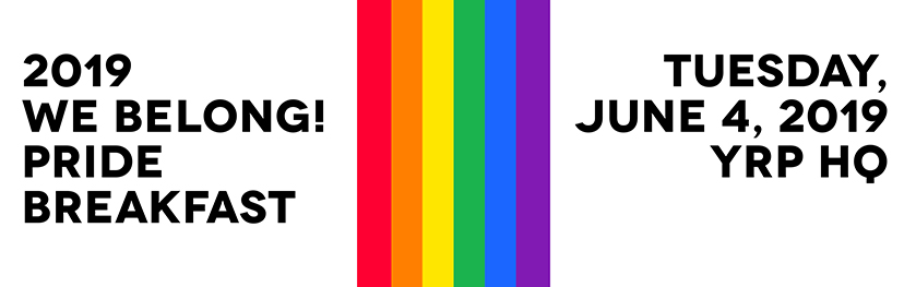 A rainbow banner with text