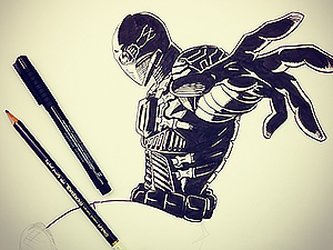 A drawing of a superhero