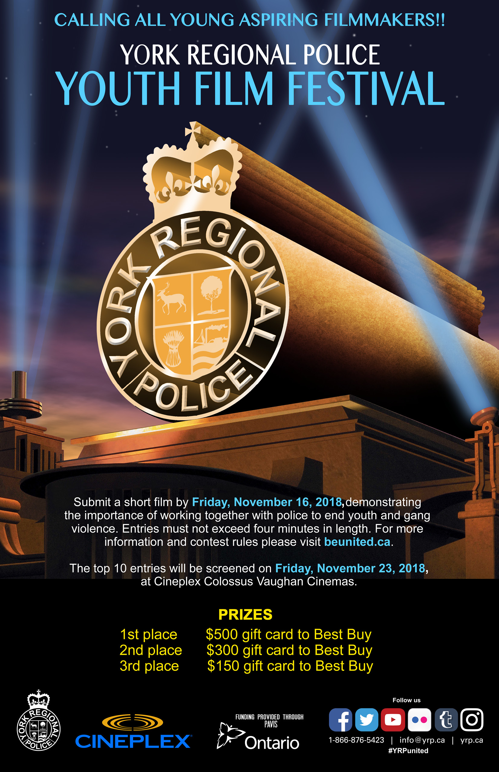 A film contest poster with the YRP logo